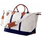 The Well Appointed House Weekender Bag in White with Navy Accents-Can Be Personalized
