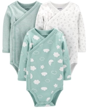 Carter's Baby 3-Pk. Printed Side-Snap Cotton Bodysuits