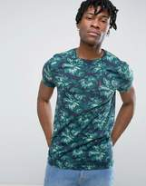 Jack Wills Eddington T-Shirt All Over Floral Print Regular Fit in Khaki