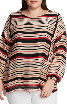 Vince Camuto Textured Stripe Balloon Sleeve Top