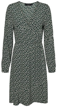 Vero Moda Flared Knee-Length Dress in Floral Print with V-Neck