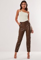 Missguided Chocolate Faux Leather Cargo Cigarette Pants