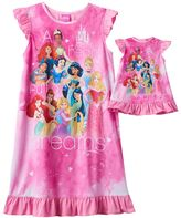 "Disney Princess Cinderella, Snow White & Mulan Girls 4-8 ""A Heart Full of Dreams"" Dorm Nightgown & Doll Gown Set"
