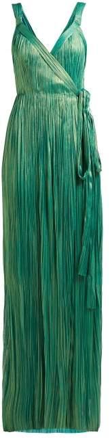 Maria Lucia Hohan Amena Plisse Silk Lame Maxi Dress - Womens - Green