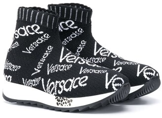 Versace logo embroidered sock sneakers