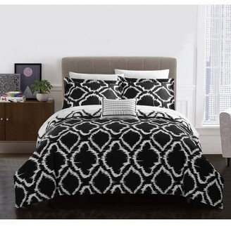 Chic Home Asya 4 Piece Reversible Duvet Cover Set, King Black