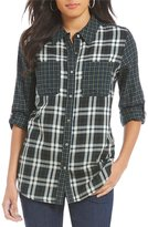 Intro Petites Long Roll-Tab Sleeve Button Front Plaid Shirt