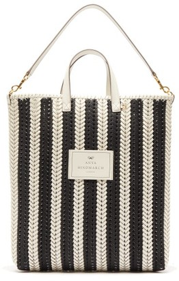 Anya Hindmarch The Neeson Striped Woven-leather Tote Bag - Black White