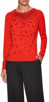 Oscar de la Renta Wool Starburst Stone Embellished Sweater