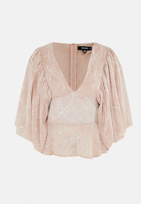 Missguided Peach Paisley Chiffon Puff Sleeve Blouse