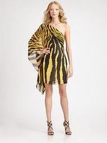 Roberto Cavalli Silk Georgette Zebra Print Dress