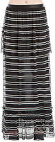 Max Studio Striped Long Skirt Stretchy Sheer Wrinkle-Free Black & White