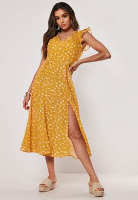 Missguided Yellow Ditsy V Neck Open Back Midaxi Dress