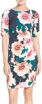 Eliza J Exploding Floral Print Jersey Sheath Dress (Petite)