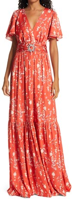 IORANE Cherry Tree Tiered Maxi Dress