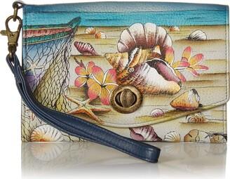 Anuschka Anna by Vintage Wristlet Clutch | Genuine Leather | Caribbean Dream