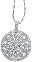 "Direct-Jewelry 14K Gold .59 Ct Diamond Disc Pendant with 18"" Chain"