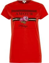 River Island Womens Red 'amour' print fitted T-shirt
