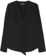 Theory Jastrid Ruffled Silk Crepe De Chine Blouse - Black