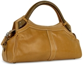 Buti Faux Wooden Handle Leather Satchel Bag