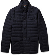 Ermenegildo Zegna - Slim-fit Leather-trimmed Quilted Wool Down Jacket