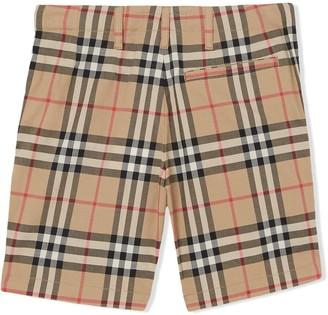 Burberry Kids Check Print Shorts