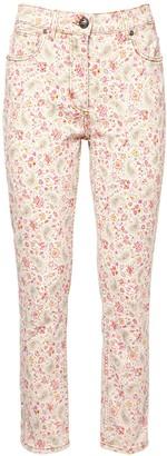 Etro Floral Print Stretch Cotton Skinny Jeans