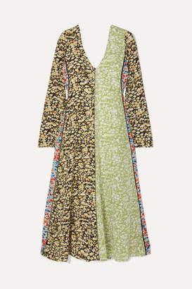 Stine Goya Maca Paneled Floral-print Silk Crepe De Chine Midi Dress - Lime green