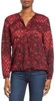 Lucky Brand Red Floral Pleat Shoulder Blouse