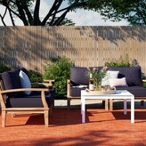 Anthony Logistics For Men Outdoor Patio 4 Piece Teak Sofa Seating Group with Cushions Foundstone Cushion Color: Navy