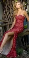 Scala Strapless Sequin Beaded Side Slit Prom Dress