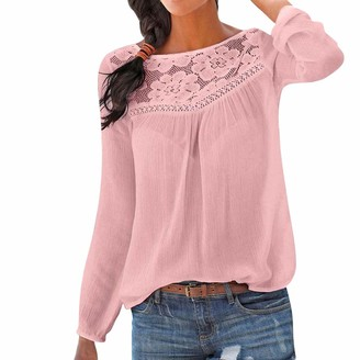 Rovinci Women's Clothing Rovinci_Women's Lace Crochet Patchwork Scoop Neckline Top Loose Elasticity Long Sleeve Pullover Elegant Solid Color Autumn Tops Blouse Slim Fit Round Neck T-Shirts Pink