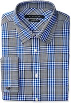 Sean John Men's Regular Fit Plaid Spread Collar Dress Shirt