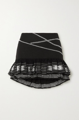 Rue Mariscal - Ruffled Embroidered Cotton Mini Skirt - Black