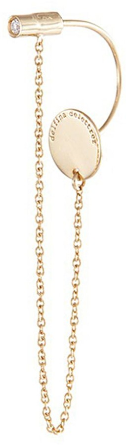Delfina Delettrez 'ABC' diamond 18k yellow gold single chain earring