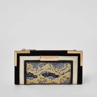 River Island Black metallic snake print foldout purse