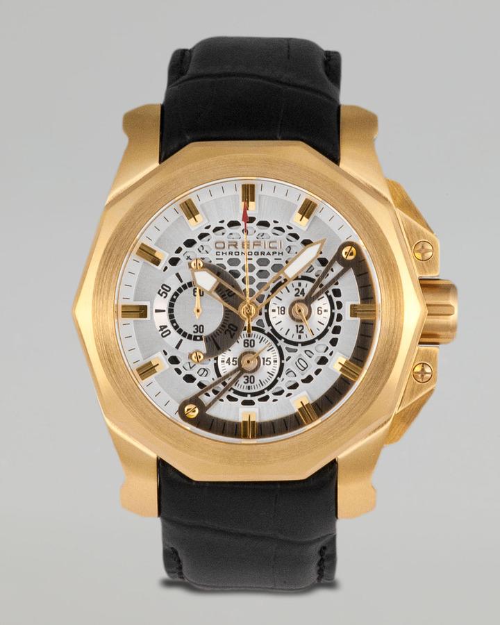 Orefici Watches Gladiatore Crocodile-Strap Chronograph Watch