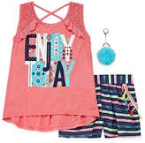 Self Esteem Graphic Tank Top with Striped Short Set - Girls' 4-16 & Plus