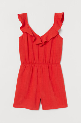 H&M Flounce-trimmed Romper - Red