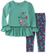 Kids Headquarters 2-Pc. Embroidered Peplum Tunic & Printed Leggings Set, Baby Girls (0-24 months)