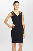 Cynthia Steffe 'Callie' Cutout Leather & Ponte Sheath Dress