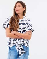 Warehouse Chain Print Tie Front Top