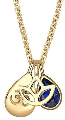 Elli Women 925 Sterling Silver Gold Plated OM Lotus Flower Blue Sapphire Necklace of 45cm 0101832716