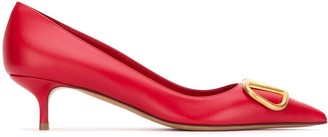 Valentino VLogo Plaque Pointed Toe Pumps