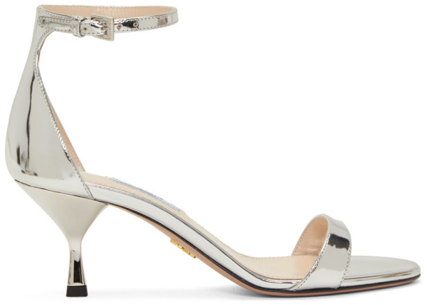 Prada Silver Metallic Strap Sandals