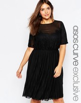 Asos Patchwork Lace Dress With Pleated Skirt