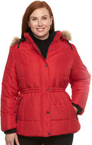 Details Plus Size Full-Zip Hooded Puffer Jacket