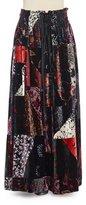 Chloé Printed-Velvet Long Skirt, Black Multi