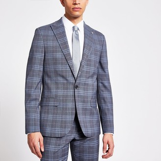 River Island Blue check single breasted skinny suit jacket