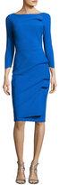 Chiara Boni Rhea 3/4-Sleeve Ruched Cocktail Dress, Blue Klein